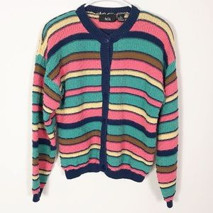 Vintage Pastel Rainbow Striped Cardigan Sweater L
